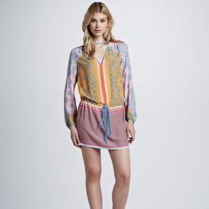 Clover Canyon Mixed-Print Drawstring-Waist Dress